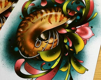 Nautilus - Tattoo Art Print