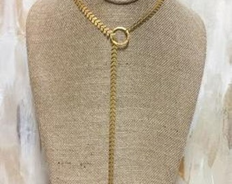 Chevron Chain with Gold Spike Choker
