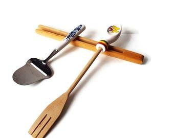 3 Piece Vintage Kitchen Implement Set/  Wooden Serving Fork/ Wooden Bread Tongs/Vintage German Cheese Slicer/ Lot Kitchen Tools