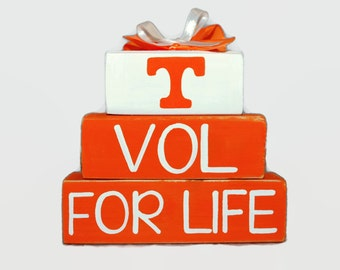 Tennessee Vol For Life Orange and White WoodenBlock Shelf Sitter Stack