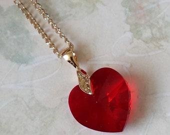Red Crystal Heart Necklace Swarovski Heart Necklace Crystal Red Heart Necklace Valentines's Jewelry Red and Gold Heart Jewelry
