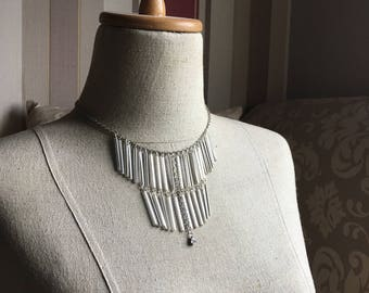 Glass Bugle Bead Bohemian Fringe Necklace in Silver Starlight