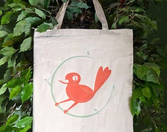 Cotton Shopping Bag, Gift For Her, Tote Bag, Bird Print, Nature Print, Nature Lover Gift, Gift For Mum, Book Bag, Bird Lover Gift, Mom Gift