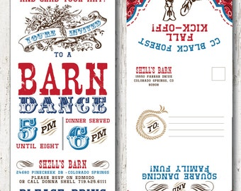 Barn Dance Hoe Down Western dance School Dance Invitation