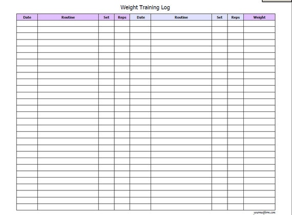 Superior Weight Training Log / Fitness/ Printable / Instant Download