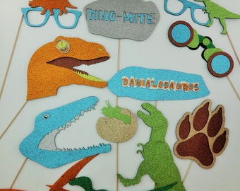Dinosaurs Photo Booth Props Paw Dino GLasses  Personalized sign Dino Party