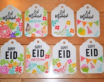 Eid Mubarak set of 8 tags, Islamic gift tags, Muslim greetings, Ramadan tags, Haj tags, Arabic calligraphy, Ramadan decoration, Eid decor.