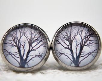 Tree Earrings, Tree Studs, Tree Branch, Branches, Trees, Stud Earrings, Post Earrings, Glass Dome Earrings, Winter Tree