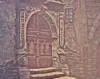 Lovely Vintage German Architectural Print of Gothic Doorway