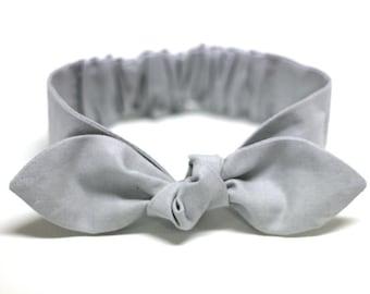 Gray fabric womens knot headband, cotton, adult, girl, bow headband, womens headband