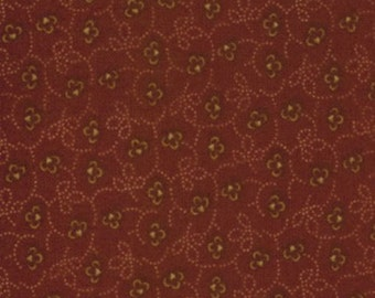 moda fabric by 1/2 yard Kansas Troubles Quilters FAVORITES II-small TAN flowers on dark red  9034-12
