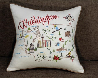 """Washington State Embroidered Pillow/Cushion Cover Decorative Pillow Cover ,18""""x18"""""""