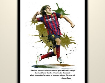 Carles Puyol ( FC Barcelona) Football Poster Wall Art Print Poster Watercolor Effect Painting Home Decor, Birthday Gifts