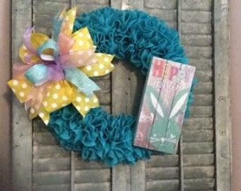 Easter Wreath Burlap Teal Ruffle  Wreath with Sign Colorful ribbon wreath