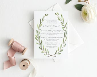 Watercolor Olive Branch Wedding Invitation Suite, Calligraphy, Hand Painted, Printable