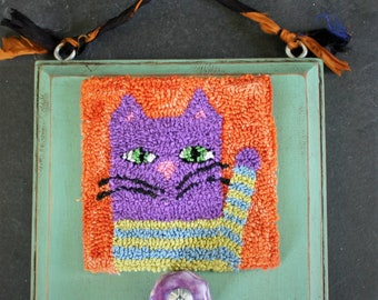 Striped Cat Punchneedle Embroidery Pattern