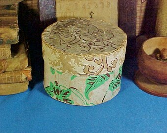 Antique Box,  c 1830 Small  Wallpaper Band Box, Top of Stack, Hand Stitched