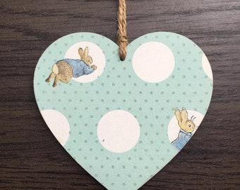 Peter Rabbit wooden hanging decoration heart plaque door hanger nursery decor