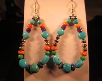 Boho Sterling Silver Multi Gemstone Earrings
