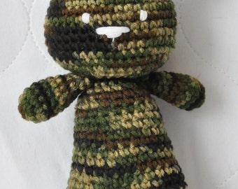 Handmade crochet doll, handmade crochet bear, doll, bear, camouflaged, teddy bear,  Camo Teddy Bear Buddy