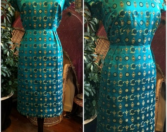 Teal Silk Chinese Brocade 1940s 1950s sz. 16 party dress gown good condition!