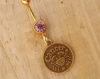 Cancer Belly Button Ring, Gold Navel Ring, Dangle Belly Ring, Body Piercing, Zodiac Charm, Body Jewelry, 14g Barbell.