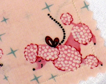 Prancing Poodles Luggage Tags - Retro, pink and aqua, set of 2