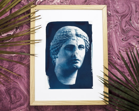 Roman Woman Bust Sculpture, Cyanotype Print, Wall Art, Marble Sculpture, Ancient Rome, Ancient Greece, Boho Chic Wall Art, Watercolor Print