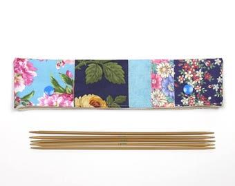 "Blue floral DPN holder for 8"" / 20cm needles, patchwork DPN cozy, sock needle case with snaps"