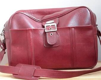 Jet Stream Burgundy Vintage Travel Bag/Luggage. Made in Korea from 1970s. Vintage Travel Luggage Bag.