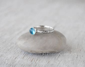 Swiss Blue Topaz Ring in Sterling Silver - Handcrafted Artisan Ring - December Birthstone - Blue Topaz Gemstone Ring