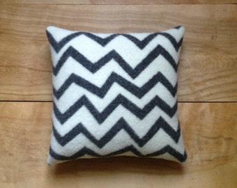Zig Zag Pillow - Charcoal Geometric Modern Contemporary