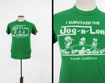 Vintage Jog-A-Long T-shirt Retro Green Road Race Soft and Thin Made in USA - Small / Med