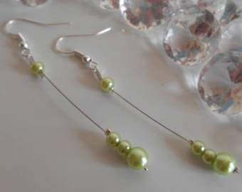 Pearl dangle wedding earrings Pearl green anise