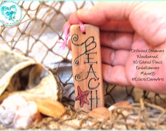 Beach Starfish Ornament, Driftwood Art Ornament, Pyrography and Pencil, #DWOR15