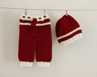 6M Sitter Pants and Hat, Red Sitter Pants Set, Red Baby Outfit, Dark Red Knit Pants, Red and White Baby Outfit, Great Baby Photo Prop