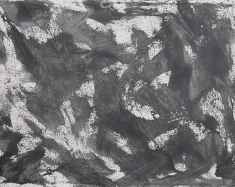 No.14 [Black and White Chalk Abstract Painting]