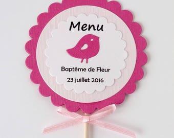 Ensemble de 10 menus sucettes pour baptême/anniversaire fillette thème oiseau coloris fuchsia/rose personnalisables