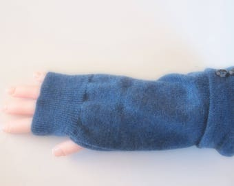 Fingerless Gloves Blue Merino Wool Womens One Size Fits Most