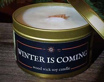 WINTER is COMING Candle | Wood Wick, Pure Soy | Gold Tin | 4 or 8 oz | Book-Fantasy-RPG-Geek Gift | Fantasy Decor |
