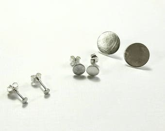 Brushed Texture Sterling Dot Post Earrings in 3 Sizes