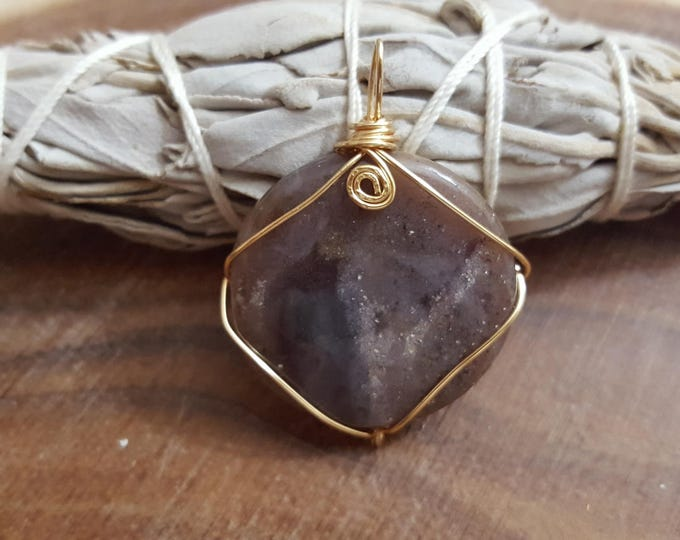Fancy Jasper wire wrapped pendant, Reiki infused (WW17)