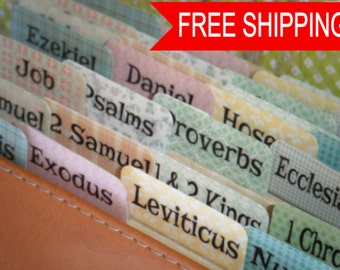 Country Calico Books of The Bible Tabs, Laminated Bible Tabs, Journaling Bible, Bible Index tabs