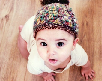 3 to 6m Pom Pom Baby Hat Elf Beanie Crochet Unisex Fall Baby Hat Brown Red Yellow Green Autumn Photo Prop