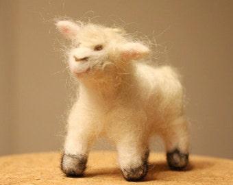 Needle Felted Sheep, ewe miniature, waldorf sheep toy, lamb soft sculpture, symbol totem animal, dry felted sheep, white sheep figurine, baa