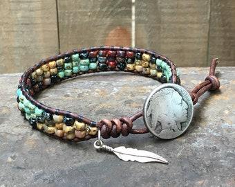 Men's Wrap Bracelet/ Seed Bead Bracelet/ Native American Leather Wrap Bracelet/ Boho Wrap Bracelet/ Southwestern Wrap Bracelet/ Bohemian.