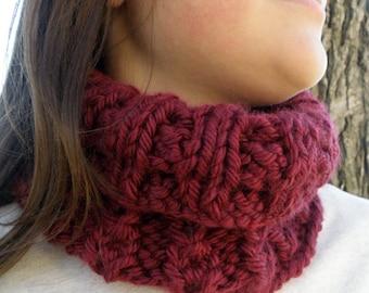 Hand Knit Chunky Infinity Cowl, Scarf Neckwarmer BURGUNDY Mums Garden (1045)