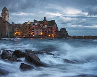 Relentless, Vernazza, Cinque Terre, Liguria, Italy, Mediterranean Sea, Storm, Night, Water - Travel Photography, Print, Wall Art
