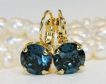 Navy Blue Earrings Bridesmaids Drop Swarovski Crystal Gift Single stone Drop Earrings Swarovski Navy Blue Wedding Jewelry,Gold,Montana,GE2