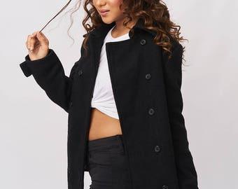 Short Wool Coat - Black Shadow